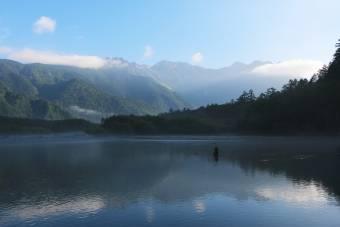 今朝の大正池