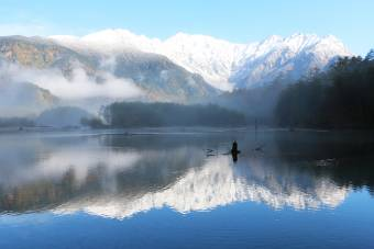 新雪と大正池
